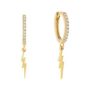 Gold CZ Lightning Bolt Huggie Earring - Adina's Jewels