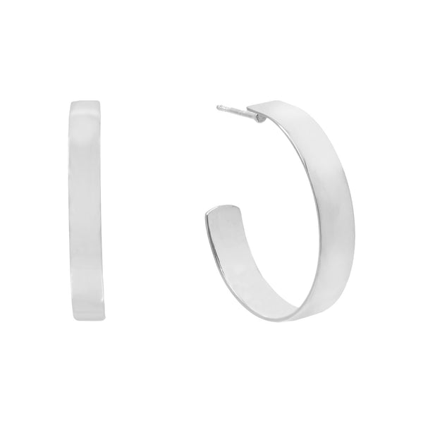Silver / 30 MM / Plain Wide Hoop Earring - Adina's Jewels