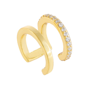 Pavé X Solid Ear Cuff Gold / Single - Adina's Jewels