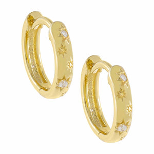 Gold CZ Mini Starburst Huggie Earring - Adina's Jewels