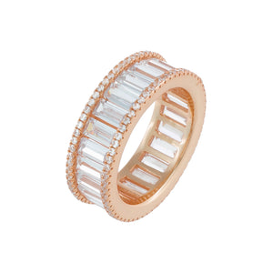 Pavé X Baguette CZ Eternity Band Rose Gold / 7 - Adina's Jewels