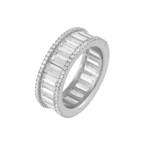 Pavé X Baguette CZ Eternity Band Silver / 8 - Adina's Jewels