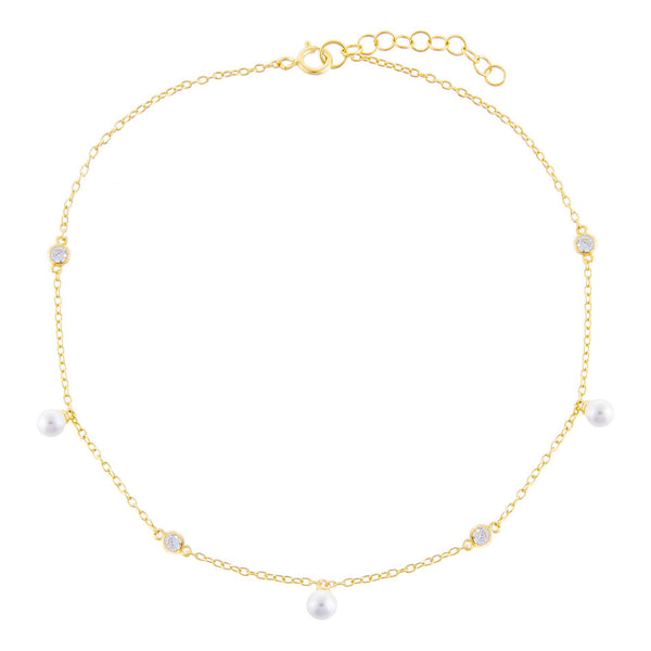Pearl X Bezel Anklet