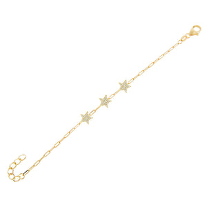 Pavé Star Link Bracelet Gold - Adina's Jewels