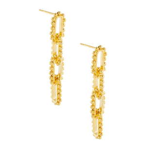 Beaded Link Drop Earrings Gold - Adina's Jewels