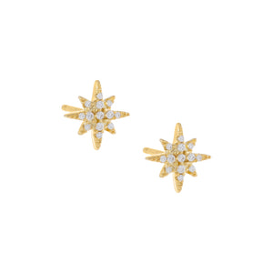 Pavé Starburst Stud Earring Gold / Pair - Adina's Jewels