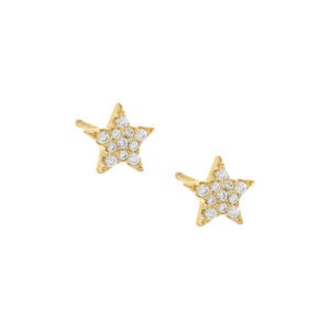 Pavé Star Stud Earring Gold / Pair - Adina's Jewels