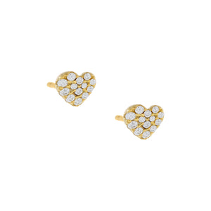Pavé Heart Stud Earring Gold / Pair - Adina's Jewels