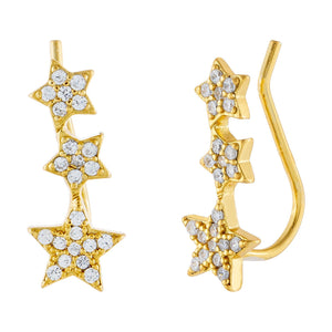 CZ Stars Ear Climber Gold - Adina's Jewels