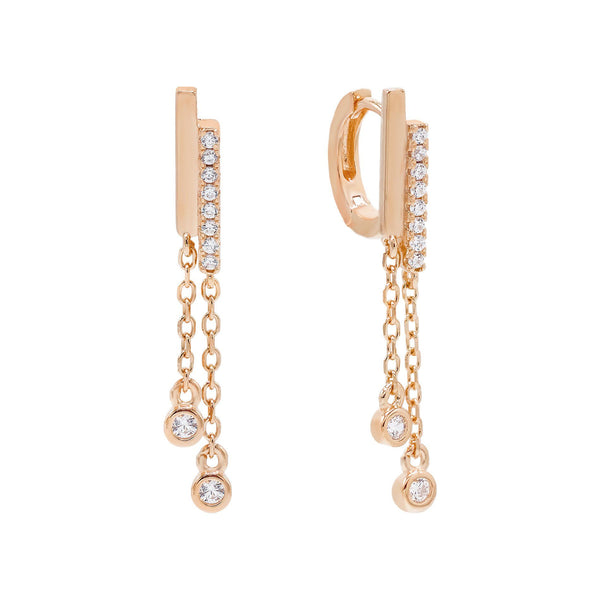Rose Gold Dangling Bezel Huggie Earring - Adina's Jewels