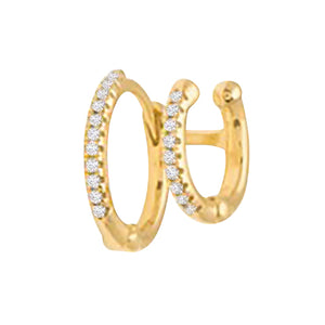 Gold / Single Double Hinge Cartilage Huggie Earring - Adina's Jewels