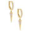 Pavé Spike Huggie Earring Gold - Adina's Jewels