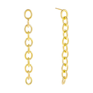 Gold Round Link Drop Stud Earring - Adina's Jewels