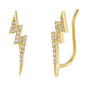 CZ Lightning Bolt Ear Climber Gold - Adina's Jewels