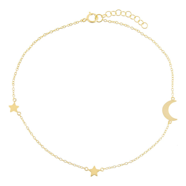 Gold Solid Star X Moon Anklet - Adina's Jewels