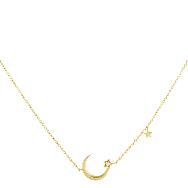 CZ Star X Moon Necklace