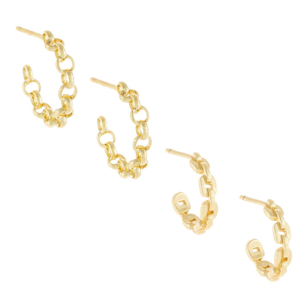 Mixed Chain Hoop Earring Combo Set