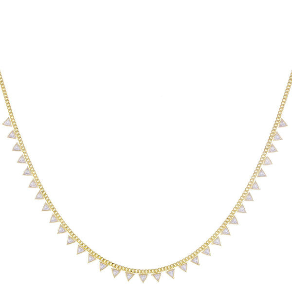 CZ Triangle Cuban Chain Necklace