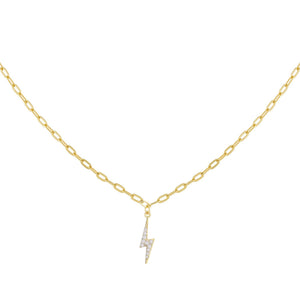 Gold CZ Lightning Bolt Link Necklace - Adina's Jewels