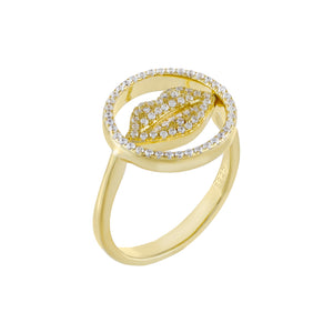 Pavé Lip Ring Gold/Clear / 6 - Adina's Jewels
