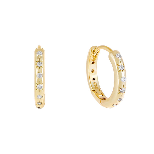 Gold CZ Starburst Huggie Earring - Adina's Jewels
