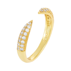 Pavé Open Claw Ring Gold / 6 - Adina's Jewels