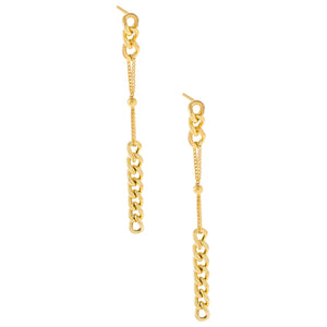 Chain X Ball Drop Stud Earring Gold - Adina's Jewels