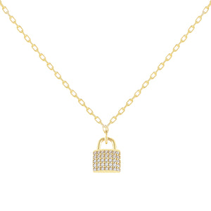 CZ Lock Link Necklace Gold - Adina's Jewels