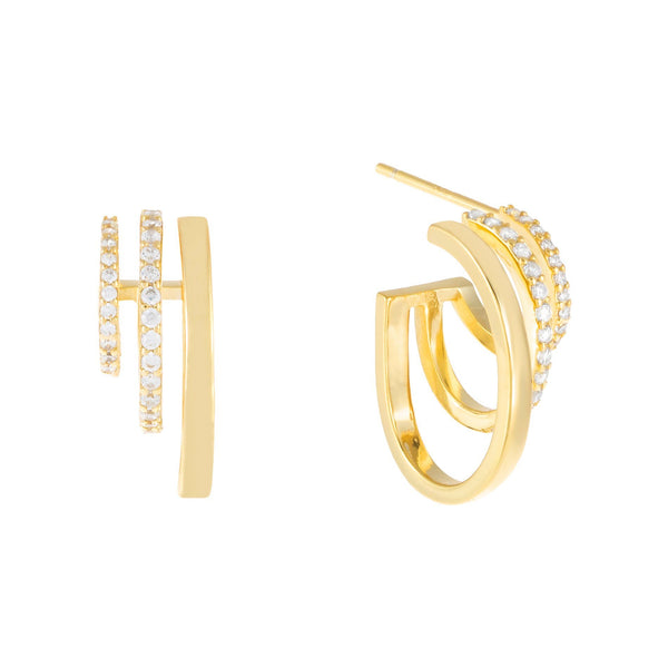 Gold Pavé Multi Hoop Earring - Adina's Jewels