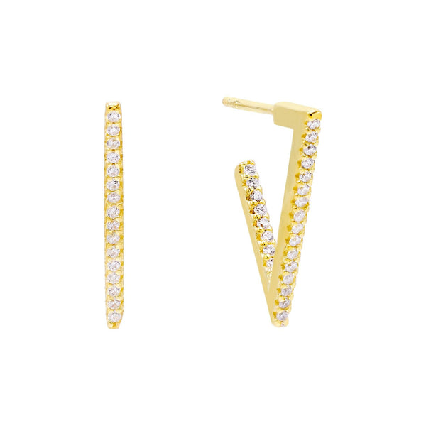 Gold / 20 MM Pavé Triangle Hoop Earring - Adina's Jewels