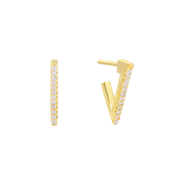 Pavé Triangle Hoop Earring - Adina's Jewels