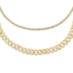 Gold Pavé Chain X Tennis Anklet Combo Set - Adina's Jewels
