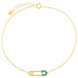Turquoise CZ Safety Pin Anklet - Adina's Jewels