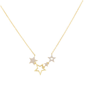 CZ X Open Star Necklace Gold - Adina's Jewels