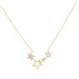 Gold CZ X Open Star Necklace - Adina's Jewels