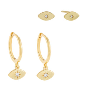 CZ Evil Eye Earring Combo Set Gold - Adina's Jewels