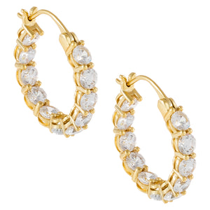 CZ Round Hoop Earring Gold - Adina's Jewels