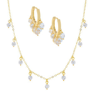 CZ Dangle Earring X Necklace Combo Set Gold - Adina's Jewels