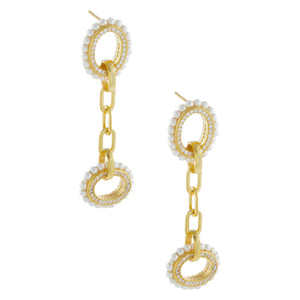 Pearl X CZ Oval Link Drop Earring Pearl White - Adina's Jewels