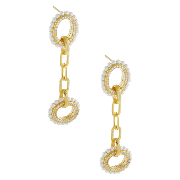 Pearl X CZ Oval Drop Link Earring Pearl White - Adina's Jewels