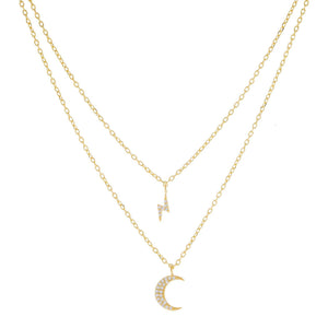 Pavé Crescent X Bolt Necklace Combo Set Gold - Adina's Jewels
