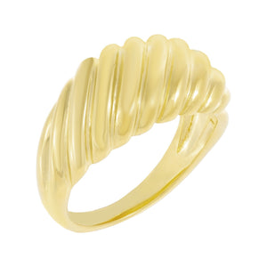 Solid Ridged Dome Ring Gold / 5 - Adina's Jewels