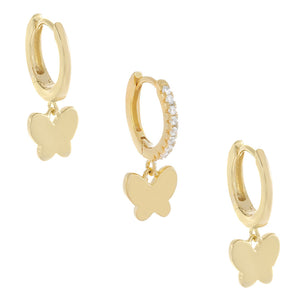 Butterfly Huggie Earring Combo Set Gold - Adina's Jewels