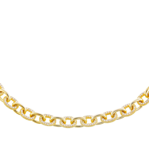 Gold Pavé Round Link Necklace - Adina's Jewels