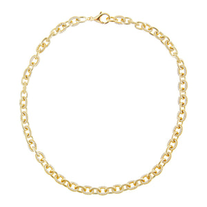 Pavé Round Link Necklace  - Adina's Jewels