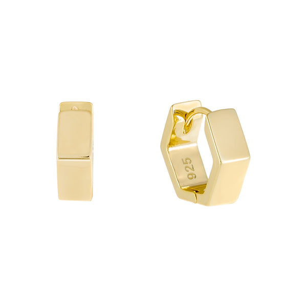 Gold Mini Solid Octagon Huggie Earring - Adina's Jewels