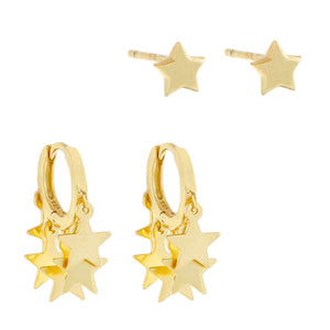 Star Earring Combo Set Gold - Adina's Jewels