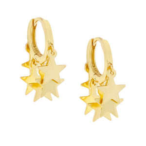 Mini Dangling Stars Huggie Earring Gold - Adina's Jewels