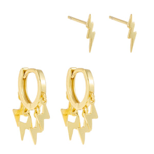 Lightning Bolt Earring Combo Set Gold - Adina's Jewels
