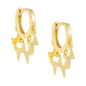 Mini Dangling Lightning Huggie Earring Gold - Adina's Jewels
